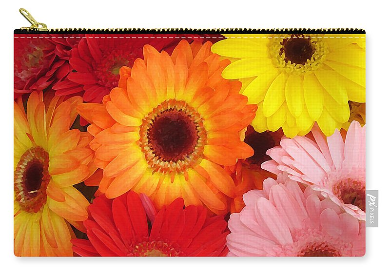Gerber Daisy Carry-all Pouch featuring the painting Colorful Gerber Daisies by Amy Vangsgard