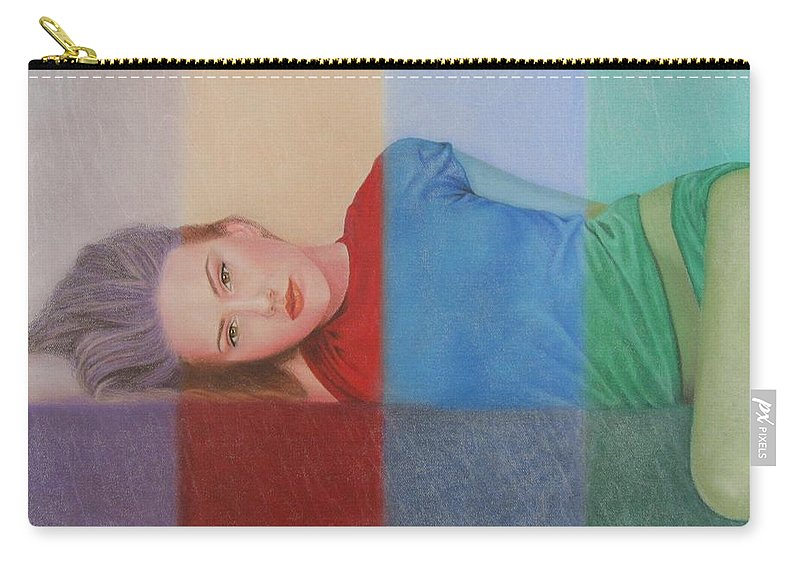 Woman Carry-all Pouch featuring the painting Colorful Girl by Lynet McDonald