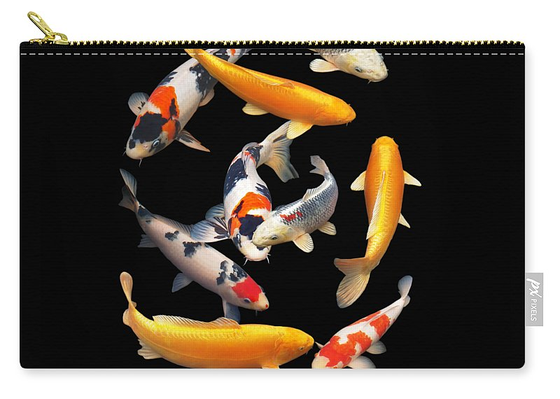 Fish Carry-all Pouch featuring the photograph Colorful Japanese Koi Vertical by Gill Billington