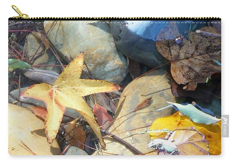 Leaves Carry-all Pouch featuring the photograph Colorful Leaves And Rocks In Creek by Carol Groenen