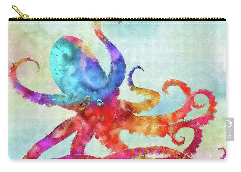 Colorful Octopus Carry-all Pouch featuring the painting Colorful Octopus by Olga Hamilton