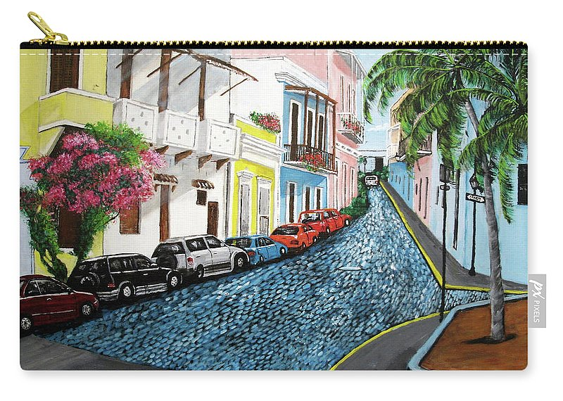 Old San Juan Carry-all Pouch featuring the painting Colorful Old San Juan by Luis F Rodriguez