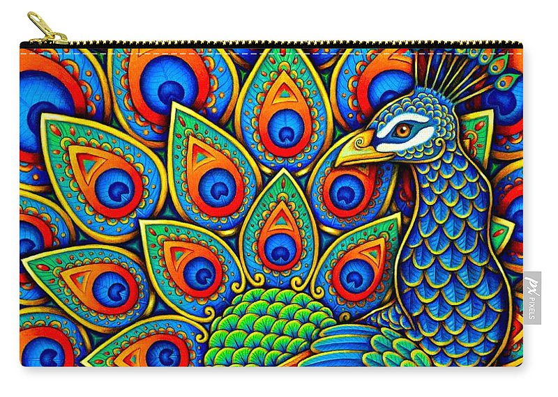 Peacock Carry-all Pouch featuring the drawing Colorful Paisley Peacock by Rebecca Wang