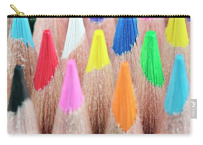 Coloured Carry-all Pouch featuring the photograph Colorful Pencils by Neil Overy