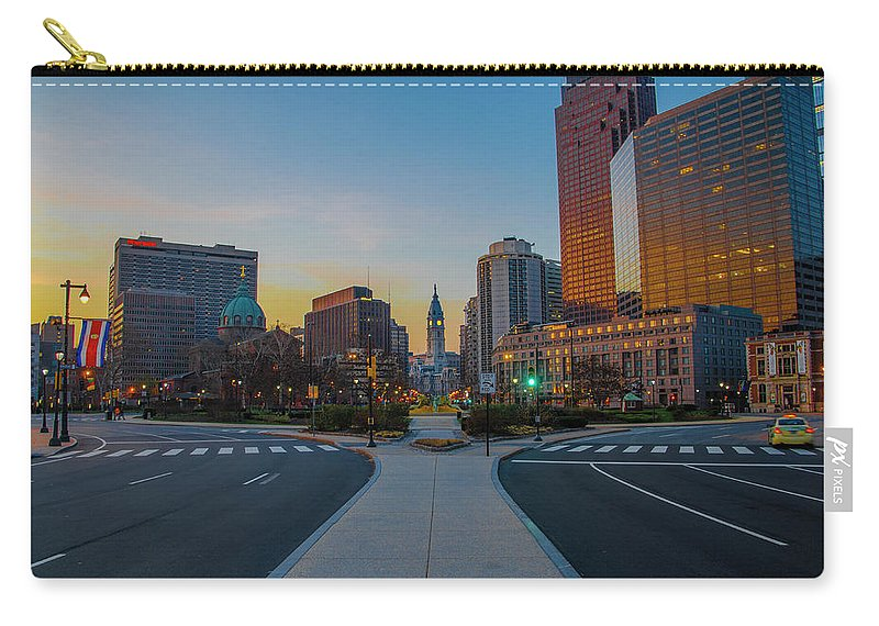 Colorful Carry-all Pouch featuring the photograph Colorful Philadelphia Morning by Bill Cannon