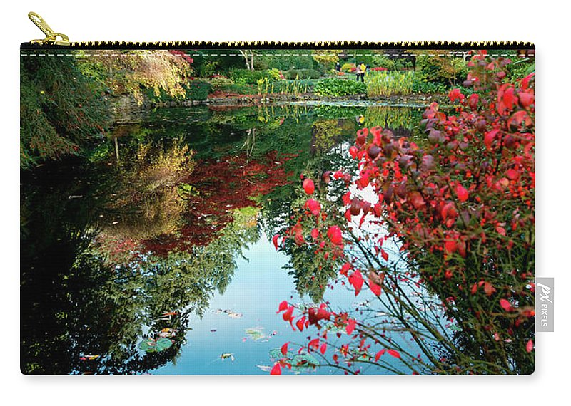 Outdoor Carry-all Pouch featuring the photograph Colorful Reflection In Autumn Gardens. by Andrew Kim