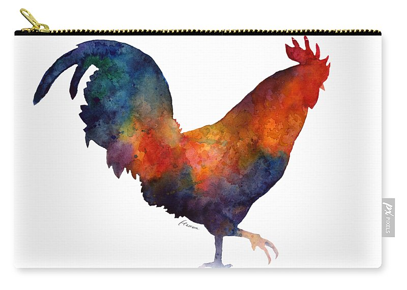 Rooster Carry-all Pouch featuring the painting Colorful Rooster by Hailey E Herrera