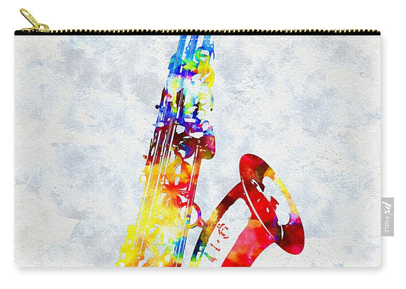 Saxophone Carry-all Pouch featuring the mixed media Colorful Saxophone by Olga Hamilton