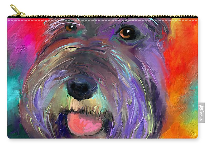 Schnauzer Dog Carry-all Pouch featuring the painting Colorful Schnauzer Dog Portrait Print by Svetlana Novikova