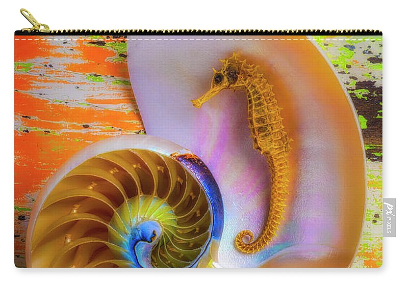 Nautilus Shells Carry-all Pouch featuring the photograph Colorful Seahorse And Nautilus Shell by Garry Gay