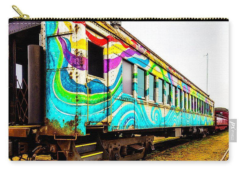 Railroad Carry-all Pouch featuring the photograph Colorful Skunk Train Passenger Car by Garry Gay