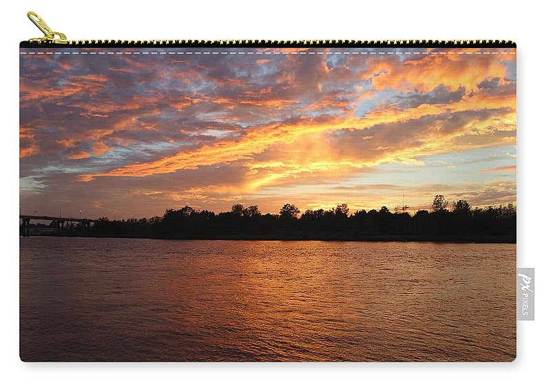 Sunset Carry-all Pouch featuring the photograph Colorful Sky At Sunset by Cynthia Guinn