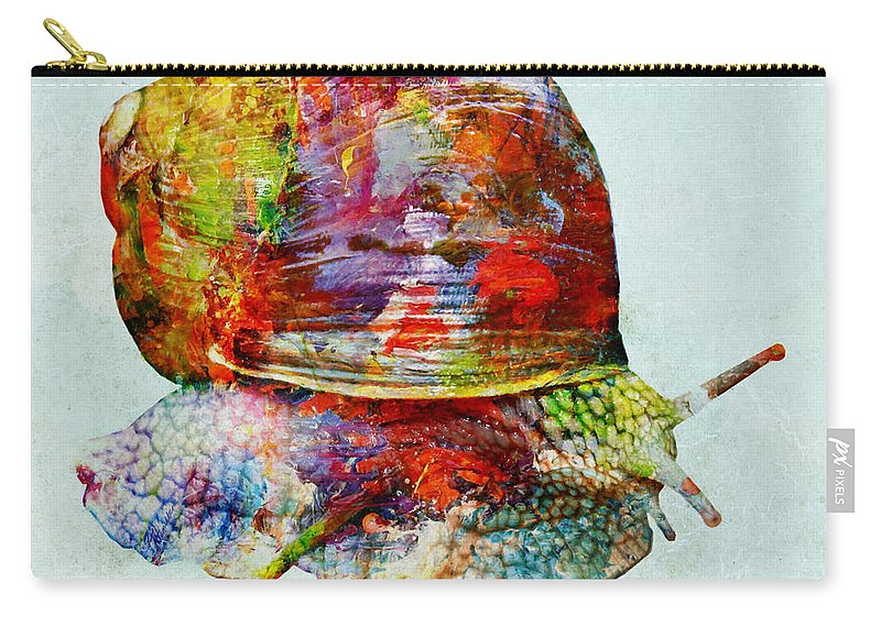 Color Fusion Carry-all Pouch featuring the mixed media Colorful Snail Art by Olga Hamilton