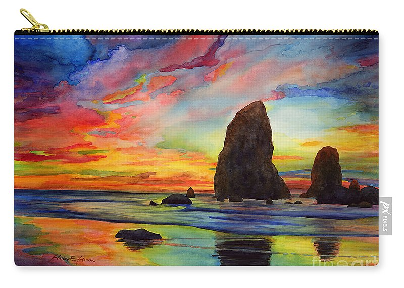 Sunset Carry-all Pouch featuring the painting Colorful Solitude by Hailey E Herrera