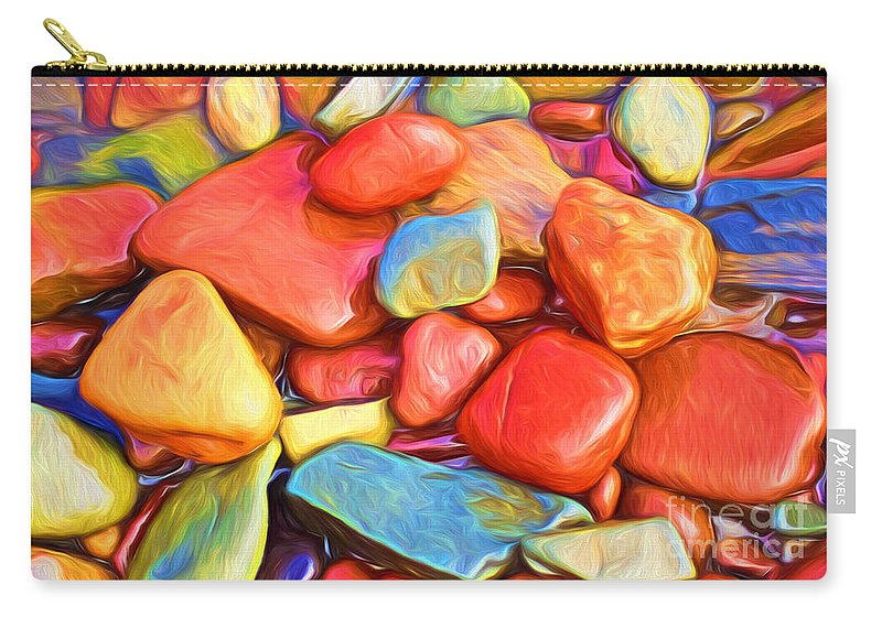 Abstract Carry-all Pouch featuring the painting Colorful Stones by Veikko Suikkanen