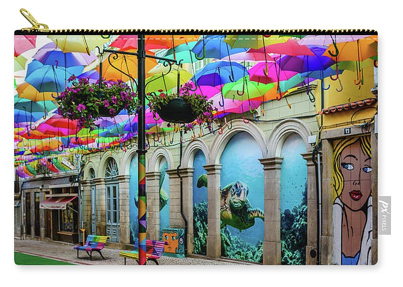 Umbrella Sky Carry-all Pouch featuring the photograph Colorful Street by Marco Oliveira