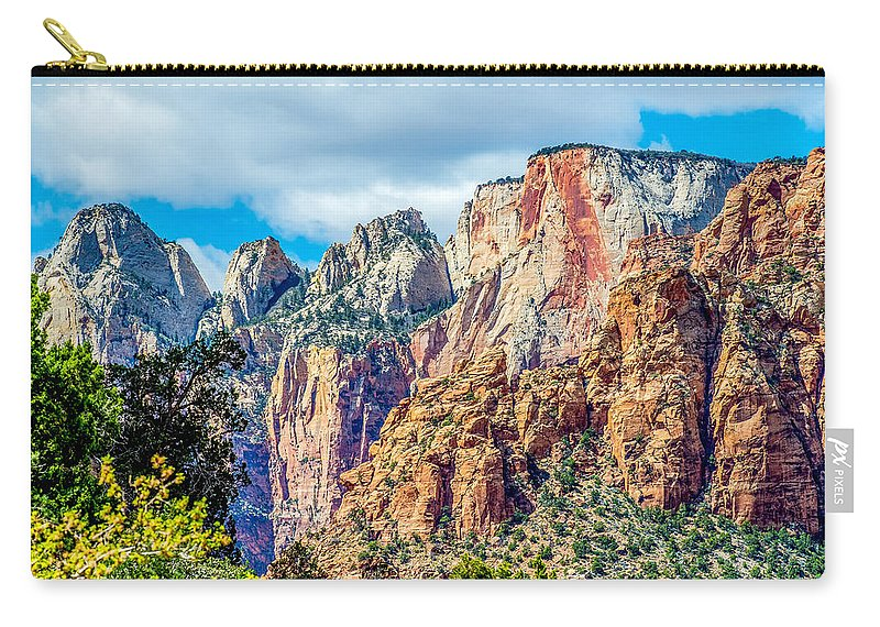 Park Carry-all Pouch featuring the photograph Colorful Zion Canyon National Park Utah by Alex Grichenko