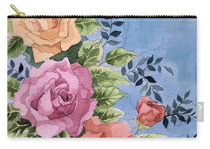 Roses Carry-all Pouch featuring the painting Colorfull Roses by Alban Dizdari