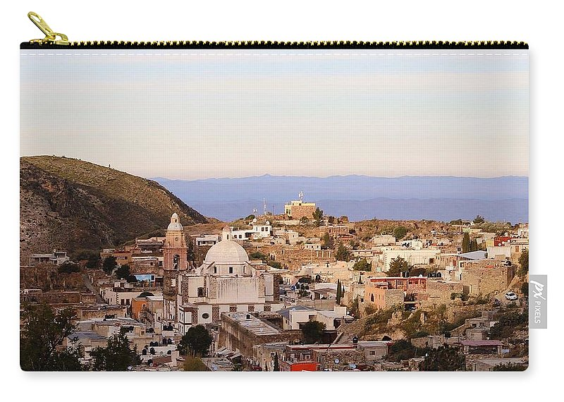 Town Carry-all Pouch featuring the photograph Colorfusk Dusk Sky Over A Typical Mexican Town by Seb Estrada