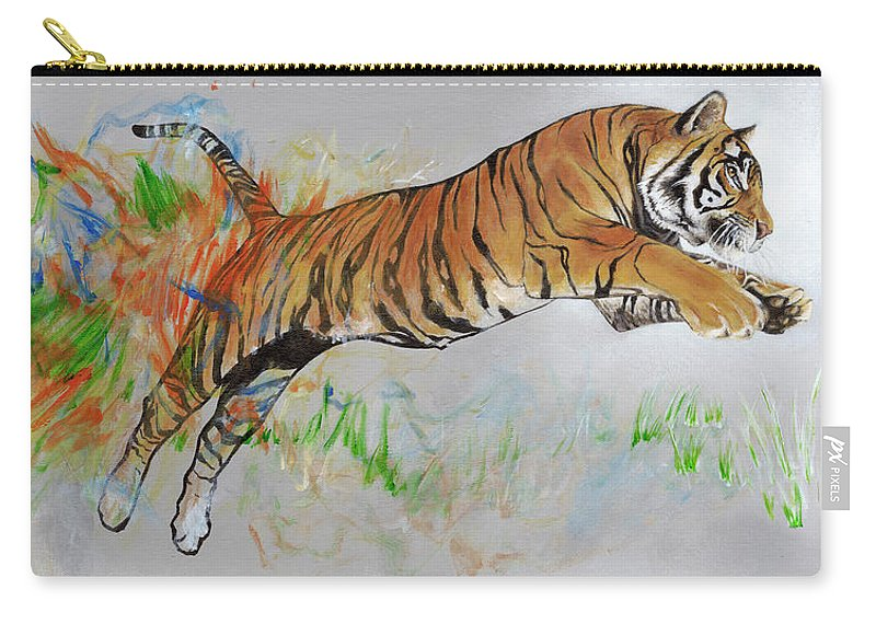 Tiger Carry-all Pouch featuring the painting Coloring In The Lines by LE Williams