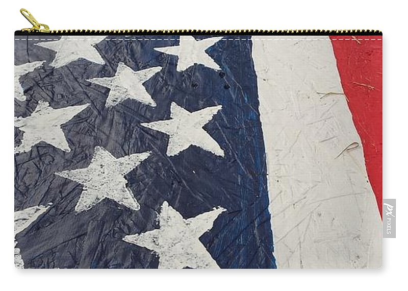 American Flag Red White Blue Patriotic Ole Glory Colors Carry-all Pouch featuring the photograph Colors Dont Run by Lee Barrett