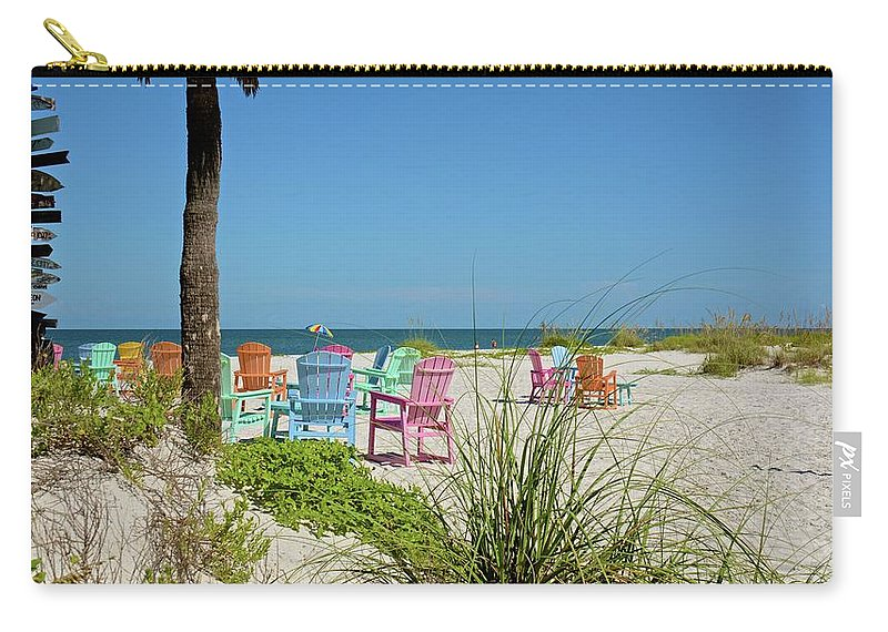 Chairs Carry-all Pouch featuring the photograph Colors Of The Seats by Carol Bradley