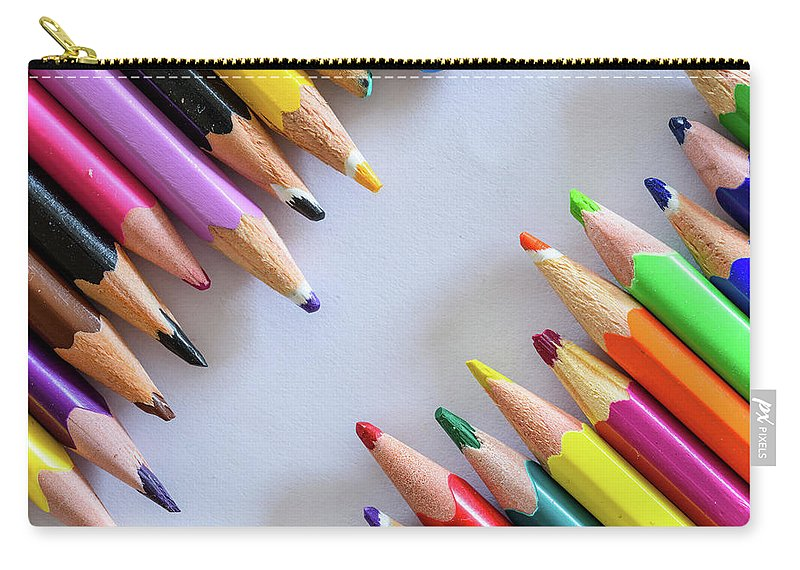 Background Carry-all Pouch featuring the photograph Colors. Old Pencils by Nicola Simeoni