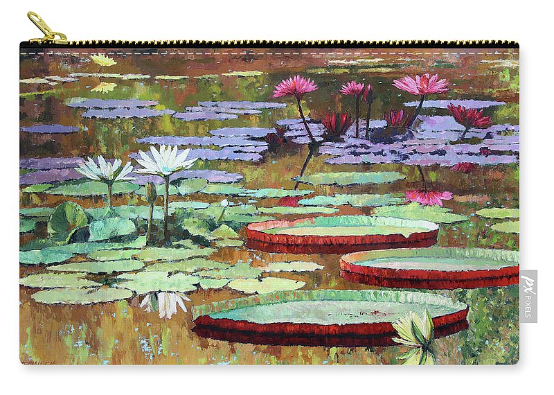 Garden Pond Carry-all Pouch featuring the painting Colors on the Lily Pond by John Lautermilch