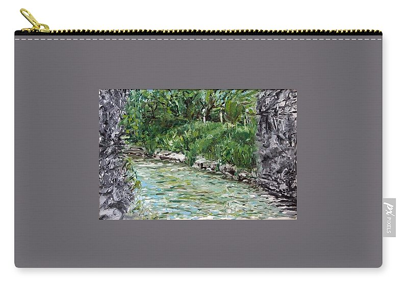 Landscape Carry-all Pouch featuring the painting Colors River by Pablo de Choros