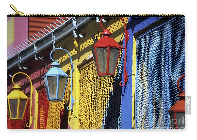 Buenos Aires Carry-all Pouch featuring the photograph Colourful Lamps La Boca Buenos Aires by James Brunker