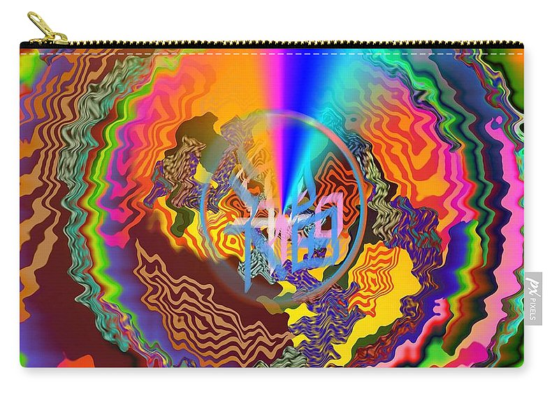 Colourful Goodluck Carry-all Pouch featuring the digital art Colourful Swirl Of Goodluck by Rizwana A Mundewadi