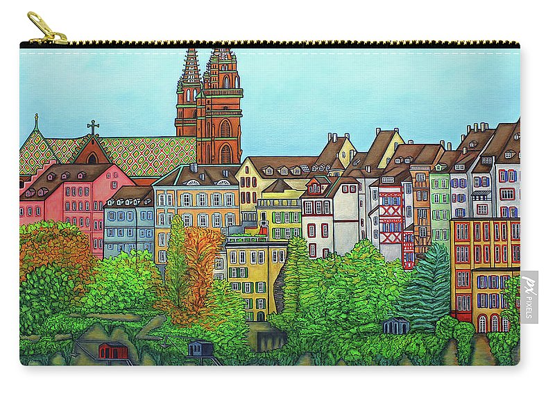 Lisa Lorenz Carry-all Pouch featuring the painting Basel, Colours of Basel by Lisa Lorenz