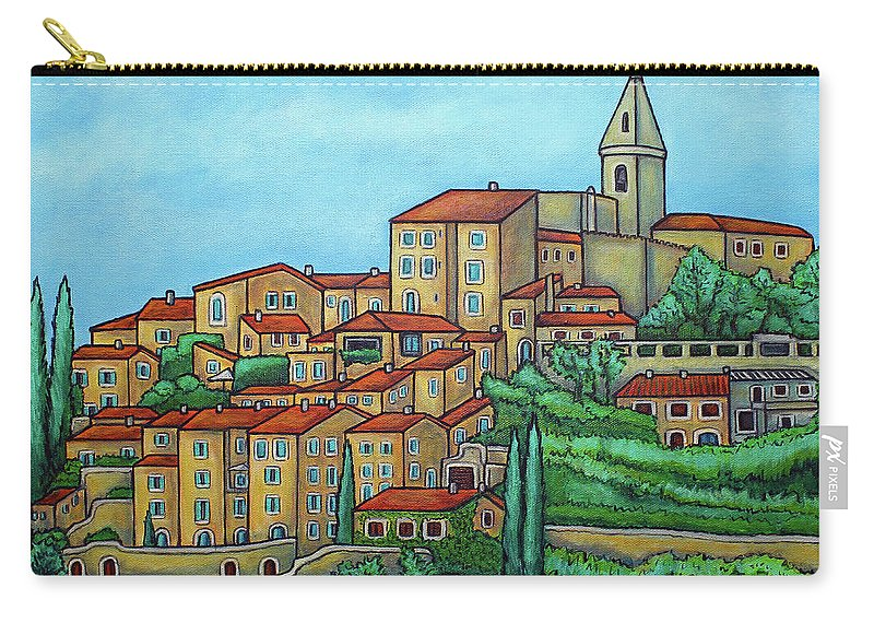 Provence Carry-all Pouch featuring the painting Colours of Crillon-le-Brave, Provence by Lisa Lorenz