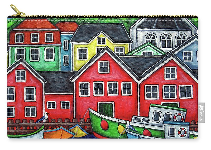 Nova Scotia Carry-all Pouch featuring the painting Colours of Lunenburg by Lisa Lorenz