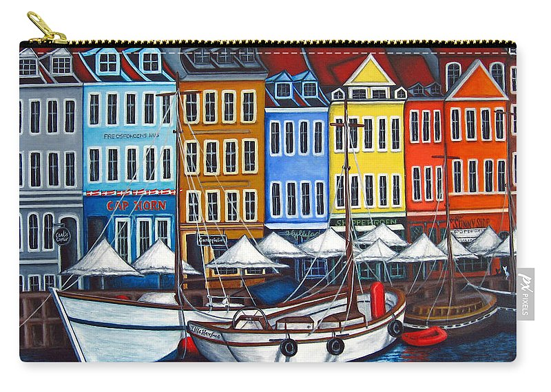 Nyhavn Carry-all Pouch featuring the painting Colours of Nyhavn by Lisa Lorenz