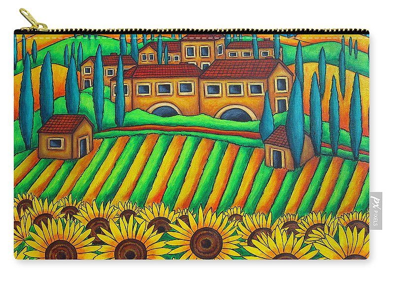 Tuscany Carry-all Pouch featuring the painting Colours Of Tuscany by Lisa Lorenz