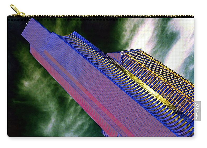 Seattle Carry-all Pouch featuring the digital art Columbia And Municipal Towers Seattle Wa by Tim Allen