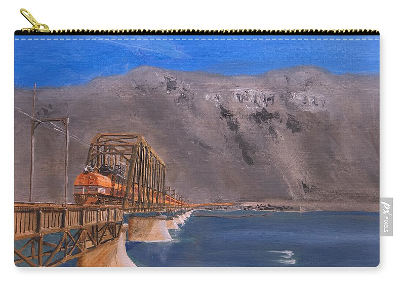 Train Carry-all Pouch featuring the painting Columbia Crossing by Christopher Jenkins