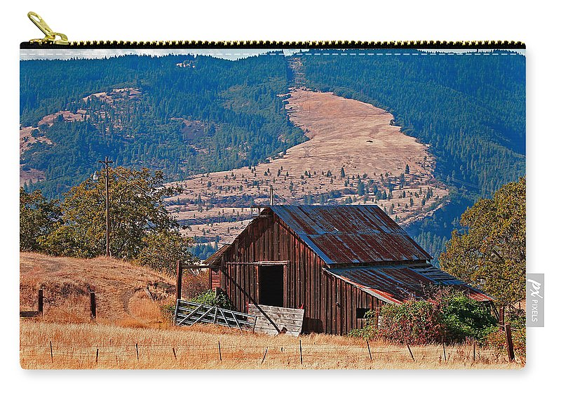 Architecture Carry-all Pouch featuring the photograph Columbia River Barn by Peter Tellone