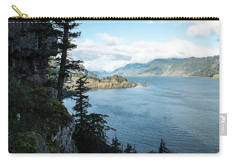 Columbia River Cliffside Carry-all Pouch featuring the photograph Columbia River Cliffside by Tom Cochran