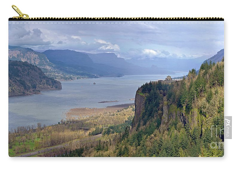 Rainbow Carry-all Pouch featuring the photograph Columbia River Gorge Oregon State Panorama. by Gino Rigucci