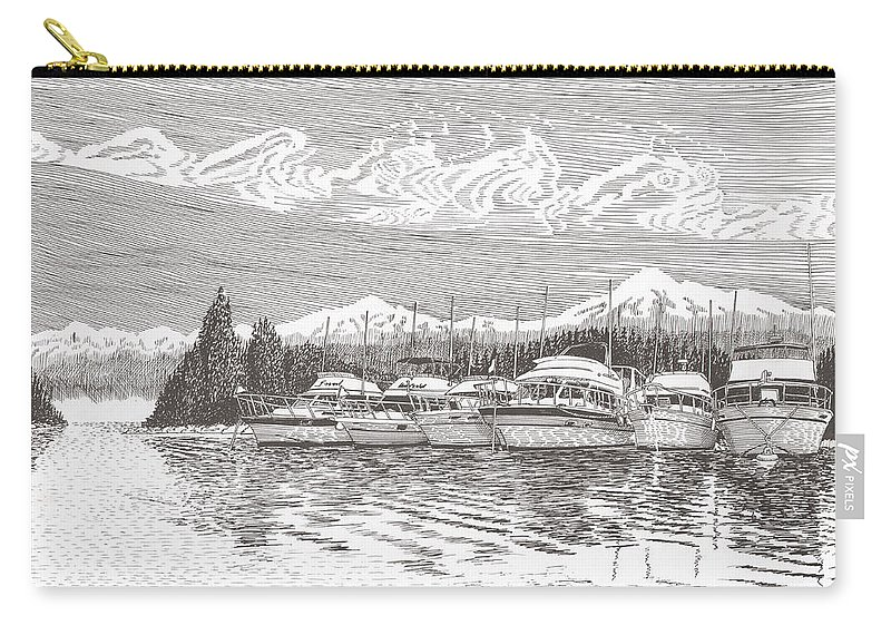 Marine Paintings Marine Art. Canvas Prints Of Boats. Prints Of Boats. Prints Of Waterfront Art. Canvas Prints Of Yachts. Framed Marine Transportation Art Carry-all Pouch featuring the drawing Columbia River Raft Up by Jack Pumphrey