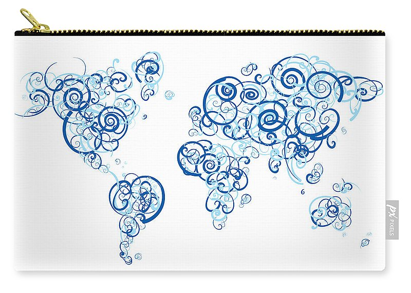 Globe Carry-all Pouch featuring the digital art Columbia University Colors Swirl Map Of The World Atlas by Jurq Studio