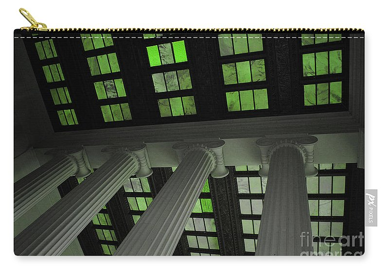 Lincoln Carry-all Pouch featuring the photograph Column Stain Green by Jost Houk