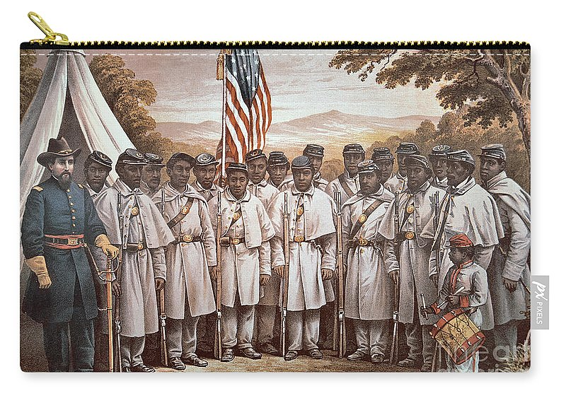 Recruitment; American Civil War; Volunteer; Soldiers; Soldier; Army; Uniform; Flag; Stars And Stripes; General; Drummer; Negro; African-american; Us; Usa; Recruiting; Advertisement; Advert; Propaganda; African American Carry-all Pouch featuring the painting 'come And Join Us Brothers' by American School
