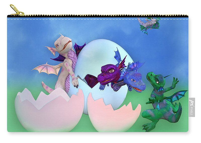 Dragon Carry-all Pouch featuring the digital art Come Out And Play by Betsy Knapp