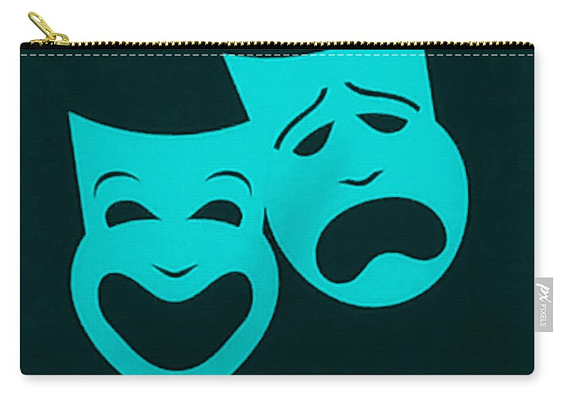 Comedy And Tragedy Carry-all Pouch featuring the photograph Comedy N Tragedy Aquamarine by Rob Hans