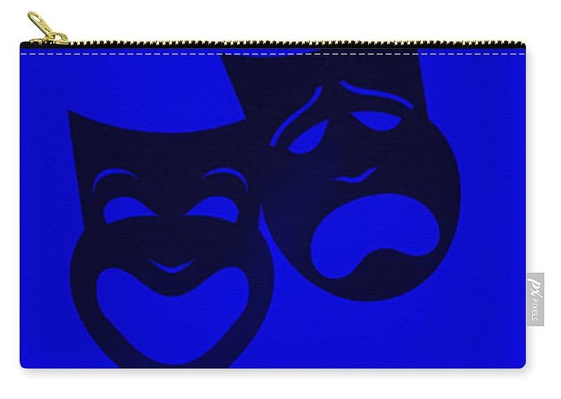 Comedy And Tragedy Carry-all Pouch featuring the photograph Comedy N Tragedy Blue by Rob Hans