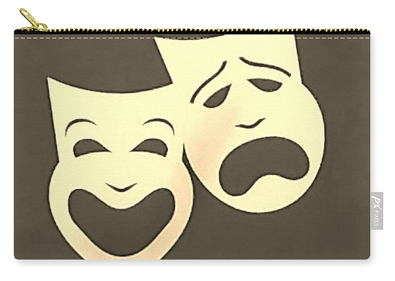 Comedy And Tragedy Carry-all Pouch featuring the photograph Comedy N Tragedy Sepia by Rob Hans