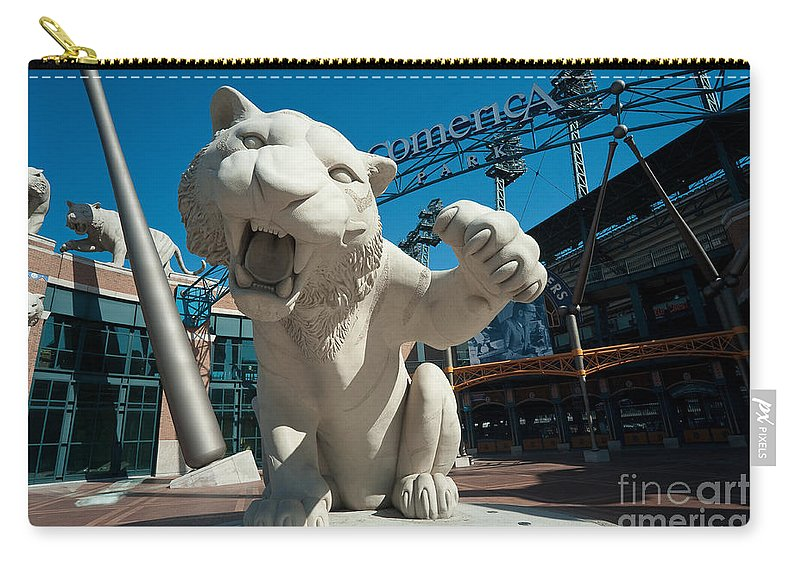 Baseball Carry-all Pouch featuring the photograph Comerica Park Entrance by Steven Dunn